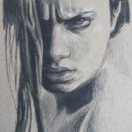 Charcoal portrait of woman