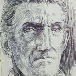 Crosshatching Pen sketch of Old Farmer