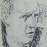 Crosshatching Pen sketch of Politician 3