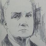 Crosshatching Politician Pen sketch