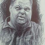 Crosshatching Pen sketch of friend