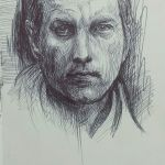 Crosshatching pen sketch of a friend