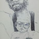 Pen sketch of Zach Galafianakis from the hangover